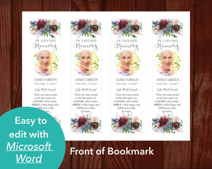 Front of Funeral Bookmark with Autumnal Flowers