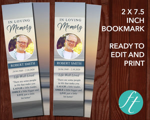 Beach Sunset Funeral Bookmark
