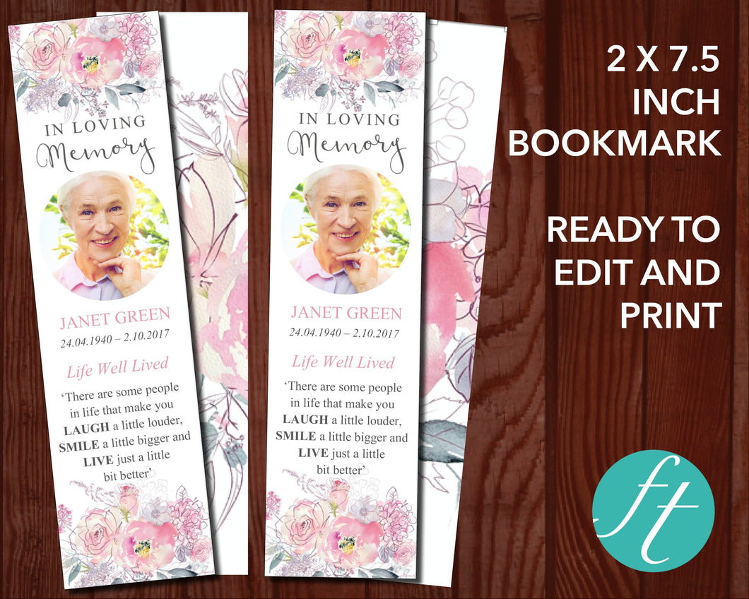 Pink Blush Funeral Bookmark