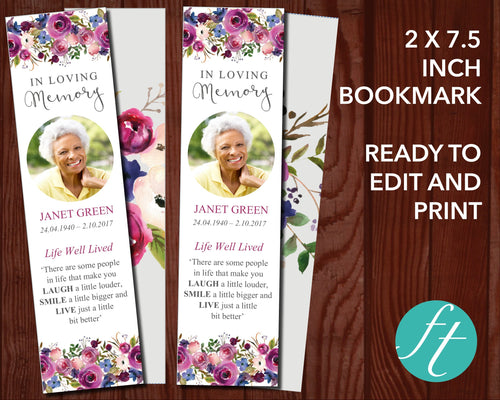 Purple Roses Funeral Bookmark