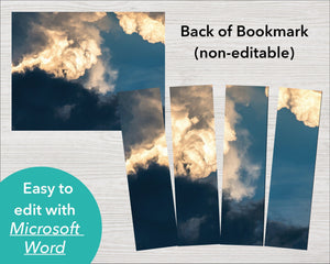 Printable Funeral Bookmark with Sky Design