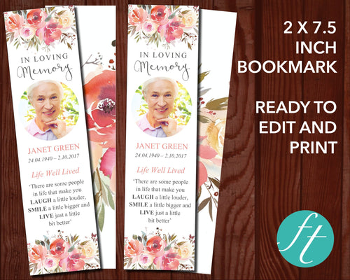 Funeral Bookmark with Spring Flowers