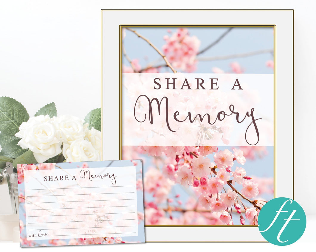 Share a memory card and sign with blossom design