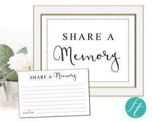 Classic share a memory sign and cards for a funeral
