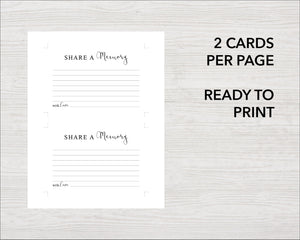 Download and print your share a memory cards for a funeral service