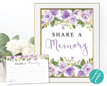 Share a memory purple watercolor sign & cards