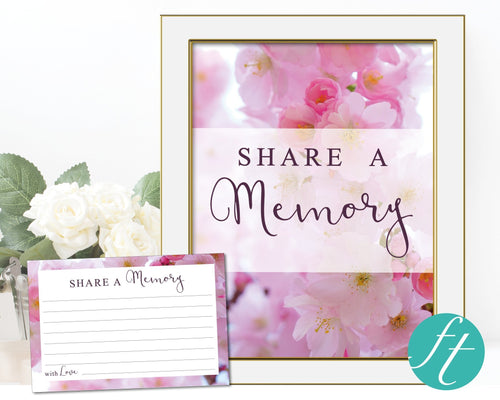 Share a memory card and sign with pink blossom design