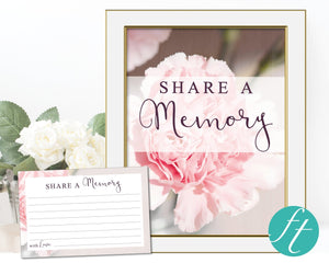 Pink carnations share a memory card and signs