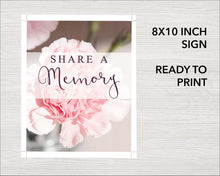 Share a memory sign with pink carnations design