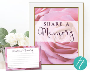 Pink Rose Share a Memory Sign and Cards