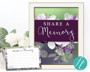 Share a memory card and sign with purple blossom design