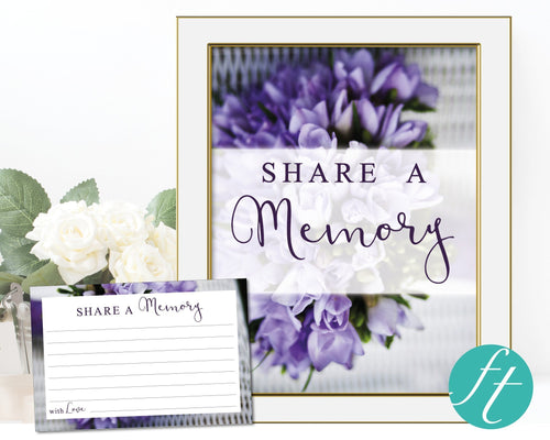 Share a memory card and sign with purple bouquet