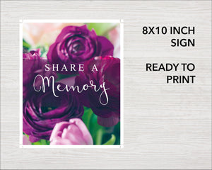 Purple peonies Share a memory printable sign