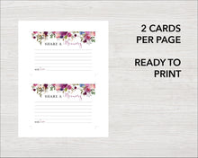 Watercolor purple share a memory printable cards