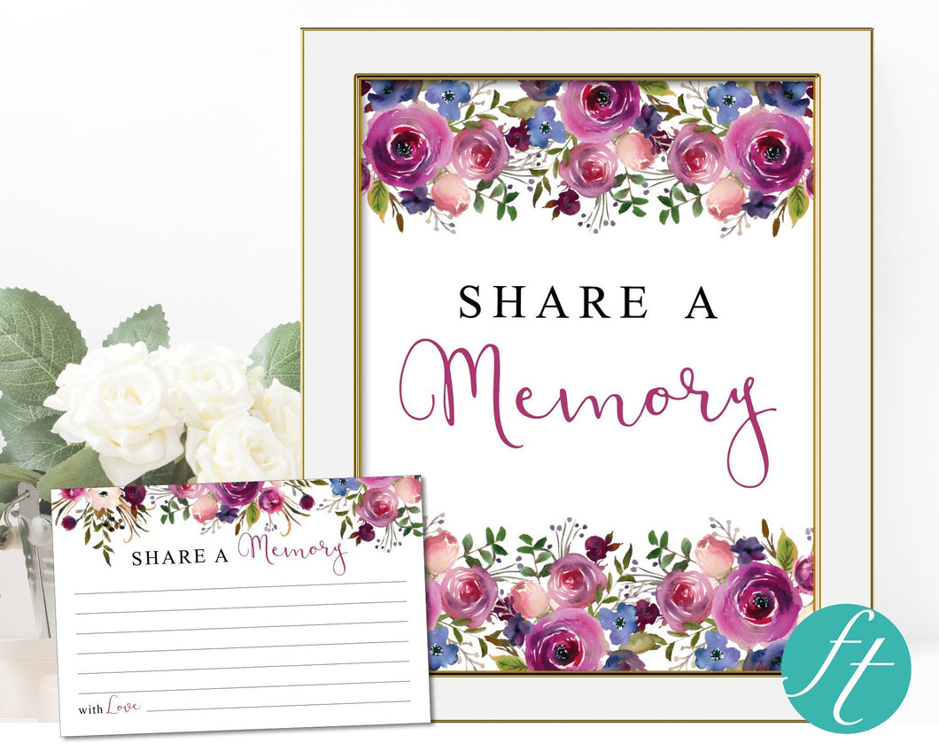 Purple rose share a memory set including sign and cards