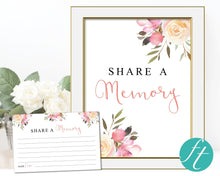 Spring flowers share a memory cards and sign