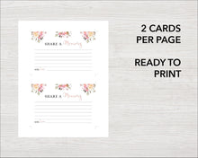 printable floral Share a memory cards