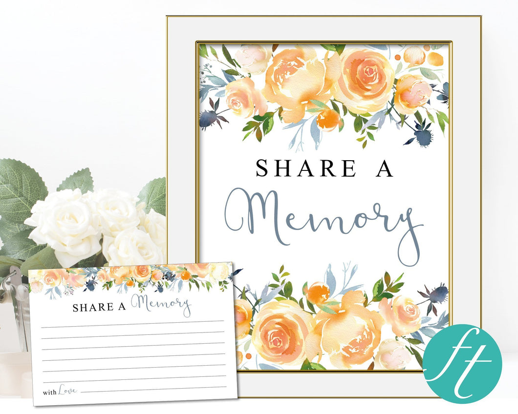 Funeral service idea - Share a memory sign and cards