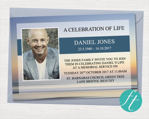 Funeral Invitation with Beach Sunset design