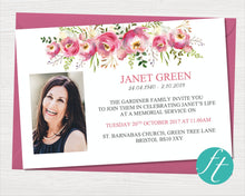 Funeral invitation card with watercolor flowers