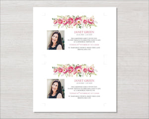 Memorial invitation card with watercolor flowers