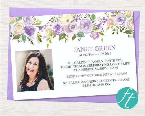Funeral invitation cards with lilac flowers