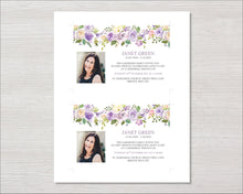 Memorial invitation cards with lilac flowers