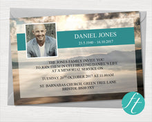 Funeral invitation card with mountain top design