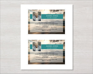 Memorial invitation card with mountain top design