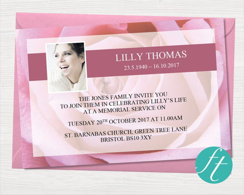 Funeral Invitation Card with pink roses