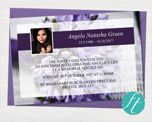 Funeral invitation card with purple flowers