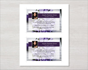 Memorial invitation card with purple flowers