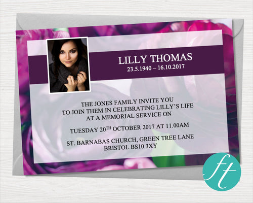 Funeral Invitation Card with Purple Peonies