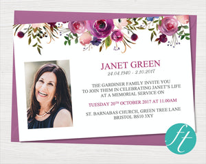 Purple Roses Funeral Invitation Card
