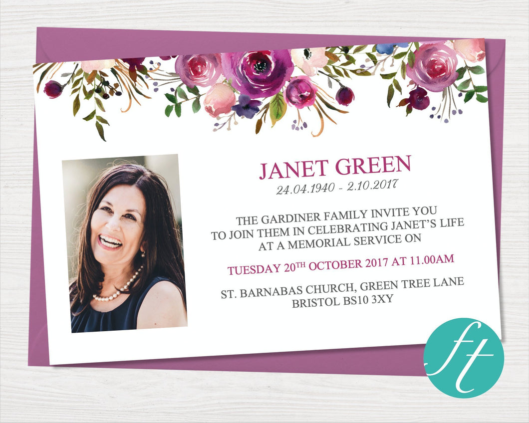 Funeral invitation cards with purple roses