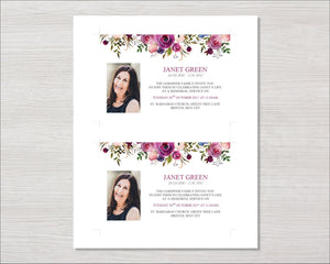 Memorial invitation cards with purple roses