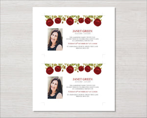 Red rose memorial invitation cards