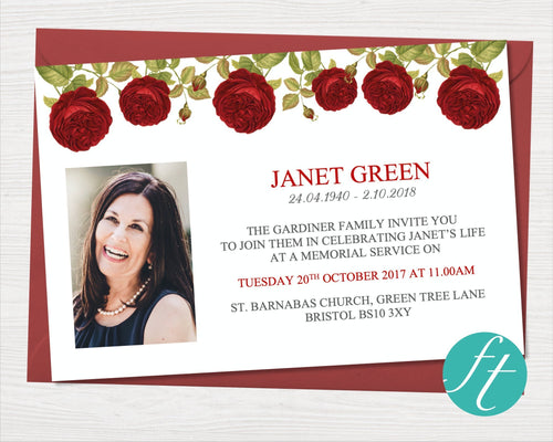 Red rose funeral invitation cards