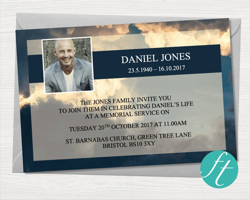Funeral invitation card with Sky design