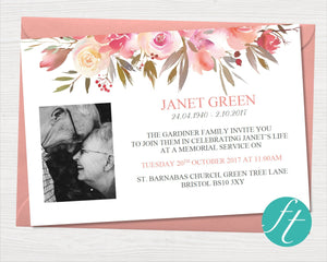 Spring Flowers Funeral Invitation Card