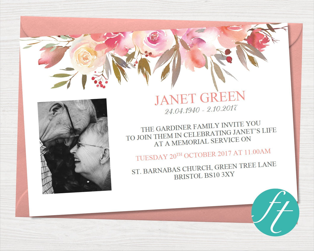 Funeral invitation card with spring flowers