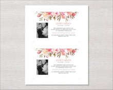 Memorial invitation card with spring flowers