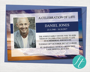 Waves Funeral Invitation Card