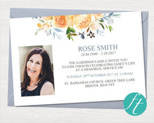 Funeral Invitation Card with yellow roses
