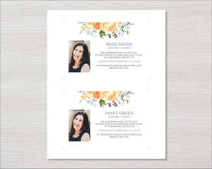 Memorial Invitation Card with yellow roses