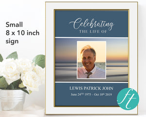 Small funeral welcome sign with editable text and photo