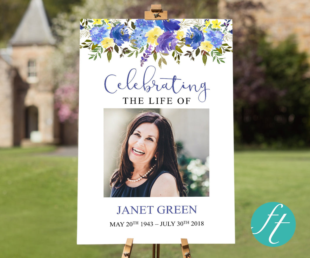 Blue floral large funeral poster with editable text and photo