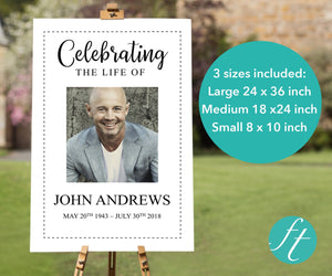 Large memorial sign for men with editable text and photos