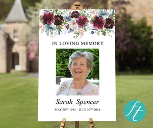 Funeral welcome sign with fall floral design