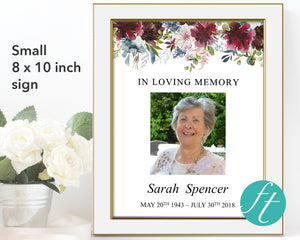 Small 8 x 10 inch sign that can be framed and displayed at a memorial service
